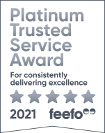We've been awarded the Platinum Trusted Service award by Feefo