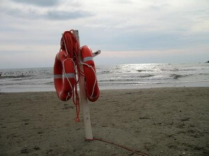 life buoys on a beach