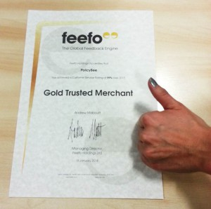 We're a Feefo 'Gold Trusted Merchant'