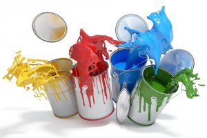 Four paint pots splashing different colours_Image used under license from Shutterstock